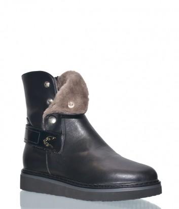 Черные кожаные ботинки Norma J.Baker 3025 на меху с кнопками