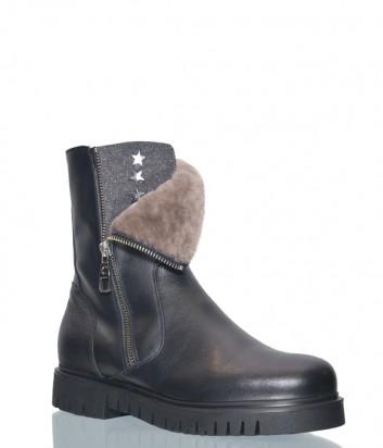 Черные кожаные ботинки Norma J.Baker 3003 на меху с молнией