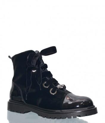 Черные бархатные ботинки Liu Jo 20102 с лаковым носком