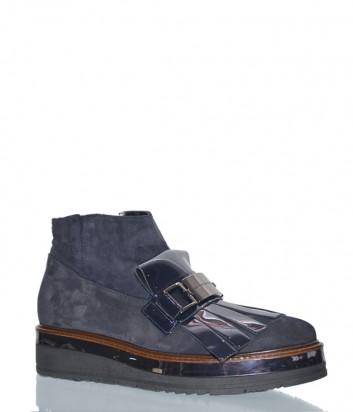 Замшевые ботинки Loretta Pettinari 5403 на танкетке серые