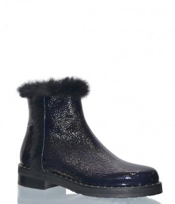 Женские лаковые ботинки Laura Bellariva 7506 темно-синие