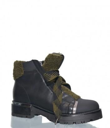 Черные кожаные ботинки Roberto Serpentini A23 с зеленым мехом