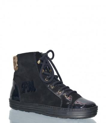 Черные замшевые ботинки Marzetti 4561 с лаковым носком