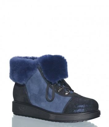 Синие замшевые ботинки Marzetti 7403 на меху