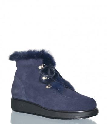 Синие замшевые ботинки Marzetti 6512 на меху