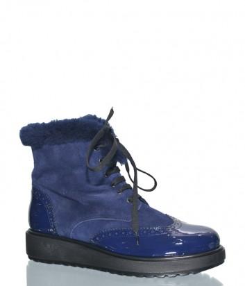 Синие замшевые ботинки Marzetti 43611 на меху с лаковым носком