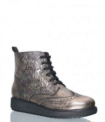 Кожаные ботинки на меху Marzetti 43612 с тисненным узором бронзовые