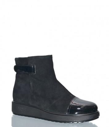 Черные замшевые ботинки на меху Marzetti 6507 с лаковым носком
