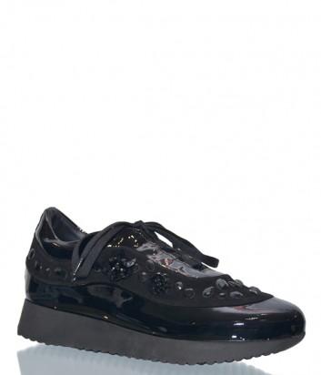 Черные лаковые кроссовки Marzetti 71572 с декором