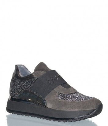 Серые замшевые кроссовки Liu Jo 20196 с глиттерными вставками