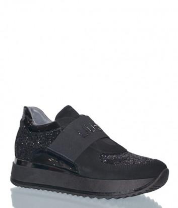 Черные замшевые кроссовки Liu Jo 20196 с глиттерными вставками