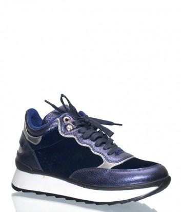 Синие кожаные кроссовки Bogner 309522 с бархатными вставками