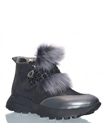 Кожаные ботинки Lab Milano 86101 декорированные мехом черные