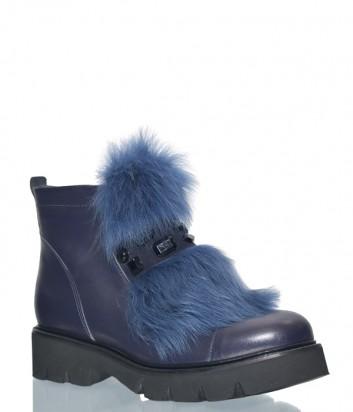 Кожаные ботинки Lab Milano 4035 декорированные мехом синие