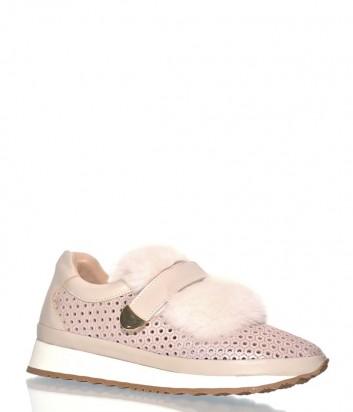 Кожаные кроссовки Roberto Serpentini с мехом розовые