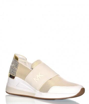 Кожаные кроссовки Michael Kors с эластичными вставками пудровые