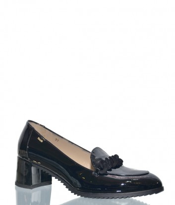 Черные лаковые туфли Norma J.Baker 1036 на широком каблуке
