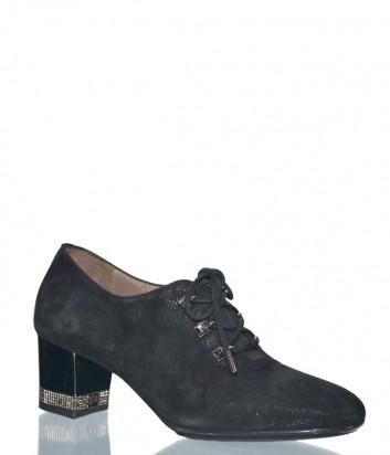 Женские туфли Giovanni Fabiani 407 из черной замши с лазерной обработкой