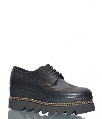 Черные кожаные туфли Cult 102611 на танкетке