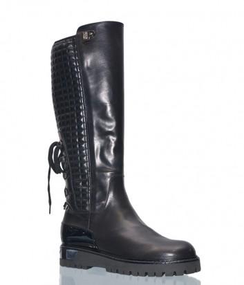 Черные кожаные сапоги Loretta Pettinari 5412 сзади на шнуровке