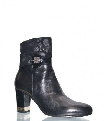 Черные кожаные ботильоны Conni 2738 на среднем каблуке