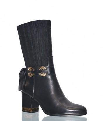 Черные кожаные полусапоги Conni 5016 с декором