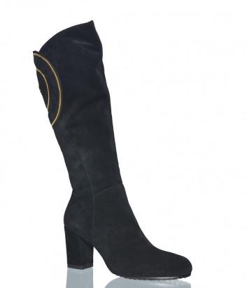 Черные замшевые сапоги Conni 5063 с золотой вышивкой