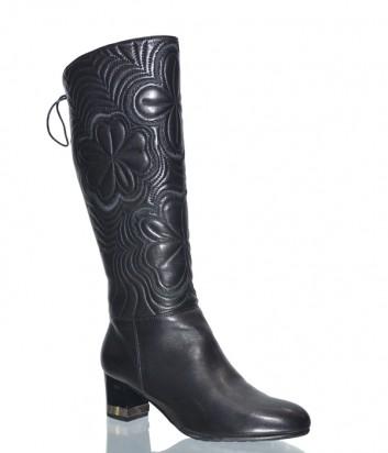 Черные кожаные сапоги Conni 2741 со стеганным узором по голенищу