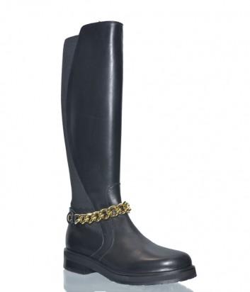 Черные кожаные сапоги Laura Bellariva 7010 с цепочкой на щиколотке