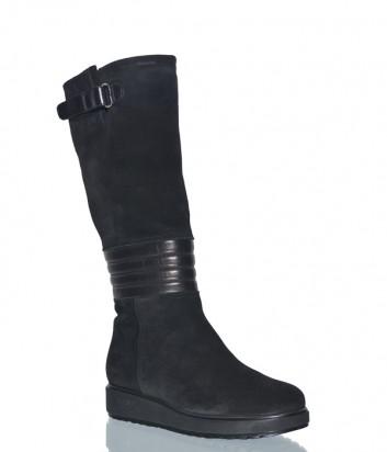 Черные замшевые сапоги Marzetti 6514 на меху