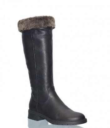 Черные кожаные сапоги Angelo Giannini 2504 на меху