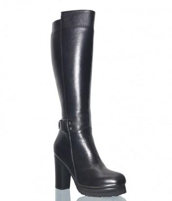 Черные кожаные сапоги Lab Milano 5015 на широком каблуке