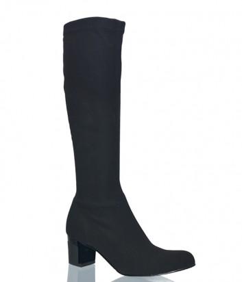 Черные сапоги-чулки Nila Nila 8950 на маленьком каблуке