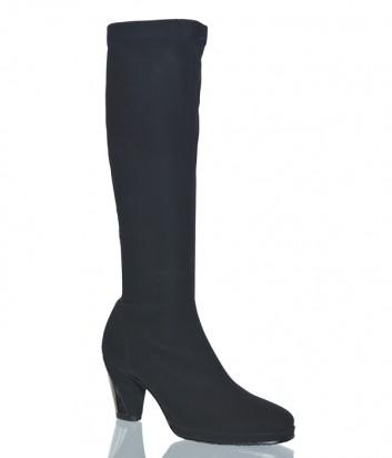 Черные сапоги-чулки Nila Nila 962 на среднем каблуке