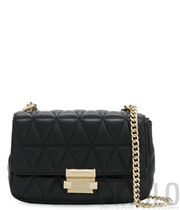 6890c80c37a1 Черная кожаная стеганая сумка Michael Kors Sloan на цепочке - купить ...