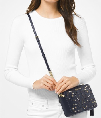 Синяя кожаная сумка через плечо Michael Kors Ginny с резным узором и золотой фурнитурой