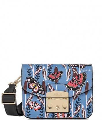 Кожаная сумка через плечо Furla Metropolis 922063 синяя с принтом бабочек