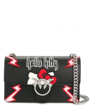 Кожаная сумка Pinko Love Bag Hello Kitty черная с рисунком
