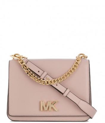 Пудровая кожаная сумка Michael Kors Mott с ручкой-цепочкой и плечевым ремнем