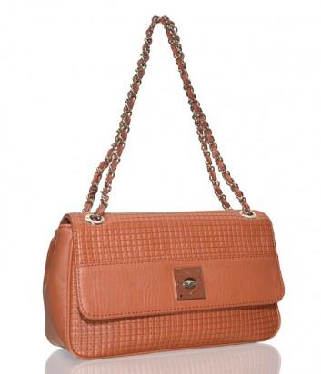 Рыжая стеганная сумка Love Moschino на регулируемой ручке-цепочке