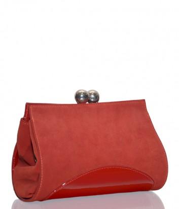 Красная замшевая сумка-клатч Gilda Tonelli 0889 с лаковой вставкой
