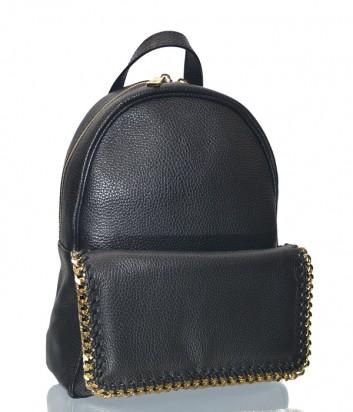 Черный кожаный рюкзак Gilda Tonelli 7481 декорирован золотой цепочкой