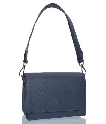 Синяя кожаная сумка Leather Country 3392981 с резным рисунком