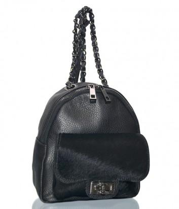 Черный кожаный рюкзак Leather Country 2993235 с внешним карманом