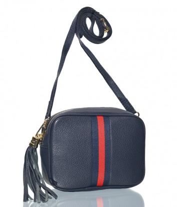 Кожаная сумка через плечо Leather Country 2292935 синяя с красной полоской