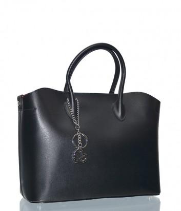 Черная кожаная сумка-шоппер Leather Country 4292367 с подвеской-брелком