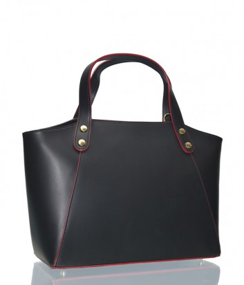 Женская сумка Leather Country в черной гладкой коже с красным кантом