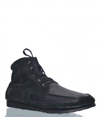 Кожаные ботинки Fabi 4594 с замшевыми вставками черные