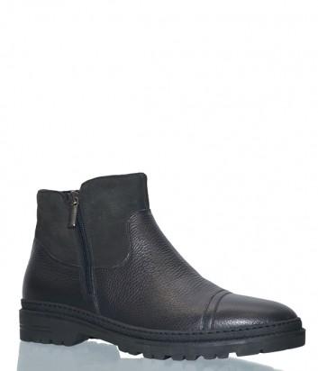 Кожаные мужские ботинки Lab Milano 17464 на меху черные