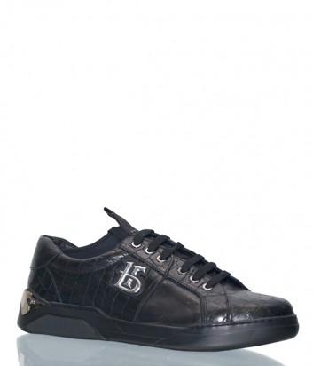 Черные кожаные туфли Roberto Botticelli 35482 с тиснением под крокодила